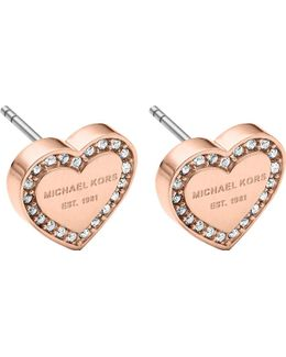 Heart Rose Gold-tone Crystal Earrings
