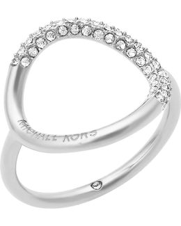 Brilliance Silver-toned Pavé Ring