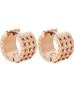 Rose-gold And Crystal Hoop Earrings