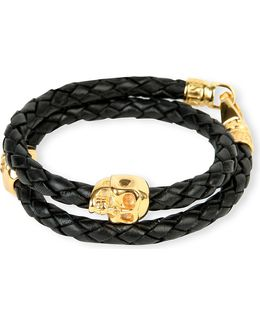 Braided Leather And Gold-plated Skull Bracelet