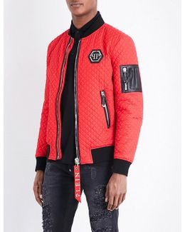 Patch-detailed Quilted Bomber Jacket