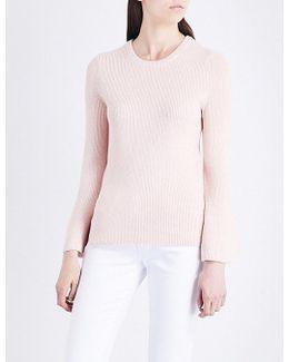 Bell-sleeve Metallic Knitted Jumper