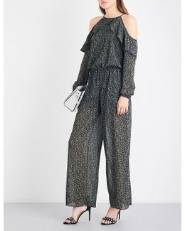 Cole Ruffled Cold-shoulder Chiffon Jumpsuit
