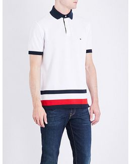 Striped-detail Slim-fit Cotton Polo Shirt