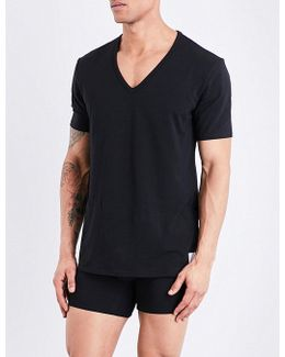 Id Slim-fit Stretch-cotton V-neck T-shirt