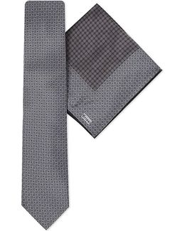 Circle Print Silk Tie & Pocket Square