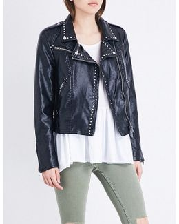 Studded Vegan Moto Faux-leather Jacket
