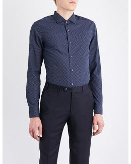 Micro Floral-patterned Slim-fit Cotton Shirt