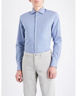 Herringbone Slim-fit Cotton-jersey Shirt