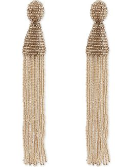 Long Beaded Tassel Clip-on Earrings