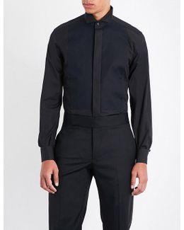 Textured-bib Regular-fit Cotton-poplin Shirt