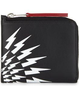 White Thunder Leather Half-zip Wallet