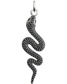 Glam & Soul Black Sterling Silver And Diamond Snake Pendant