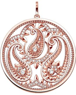 Oriental Disc 18ct Rose Gold-plated And Zirconia Pendant