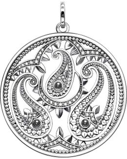 Oriental Disc Sterling Silver And Zirconia Pendant
