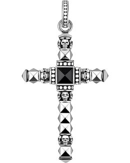 Cross Skulls Sterling Silver And Onyx Pendant