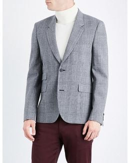 Check Tailored-fit Wool-blend Jacket