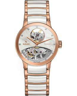 R30248902 Centrix Rose Gold And Mother-of-pearl Open Heart Watch