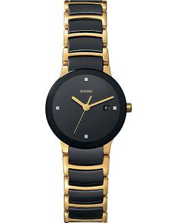 R30930712 Centrix Gold And Black Ceramic Watch