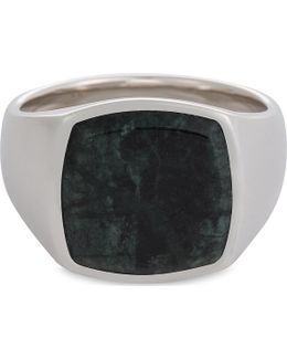 Green Marble Silver Signet Ring