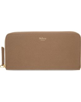Grained Leather Zip-around Wallet