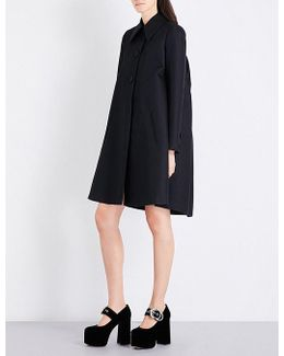 Puff-shoulder Ruched Wool And Silk-blend Coat