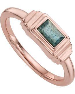 Baja Deco 18ct Rose Gold And Labradorite Ring