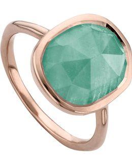 Siren 18ct Rose Gold Vermeil And Amazonite Medium Stacking Ring