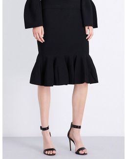 Trumpet-hem High-rise Knitted Skirt