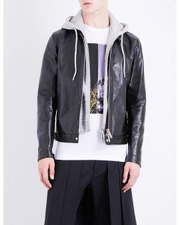 Detachable-hood Leather Jacket