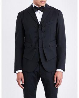 Mens Black Slogan Button Fastening Vest-detailed Regular-fit Wool Jacket