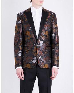 Mens Printed Abstract Jacquard-print Regular-fit Jacket