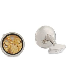 Gold Leaf Cufflinks And Stud Set