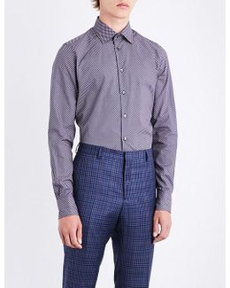 Eye Spot-patterend Fitted Cottnon Shirt
