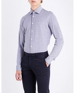 Piqué-patterned Fitted Cotton Shirt