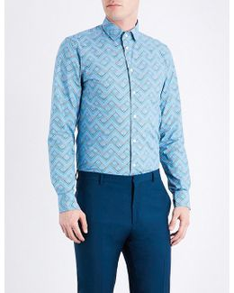 Zigzag-patterned Contemporary-fit Cotton Shirt