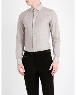 Cross-hatch-patterned Contemporary-fit Cotton Shirt