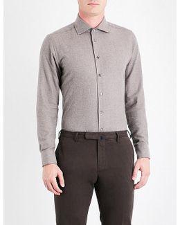 Herringbone Contemporary-fit Cotton Shirt