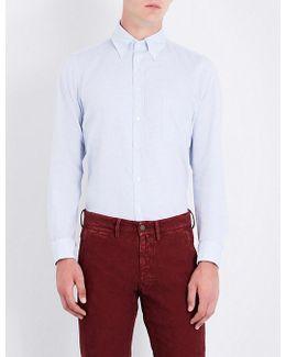 Birdseye-patterned Contemporary-fit Cotton Shirt