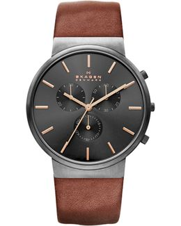 Ancher Chronograph Leather Watch
