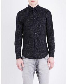 S-ruiz Matchstick-print Slim-fit Stretch-cotton Shirt