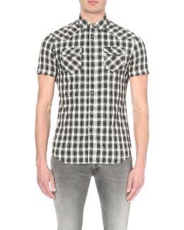 S-zule-short Plaid Cotton-blend Shirt