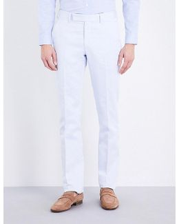 Regular-fit Cotton And Linen-blend Trousers