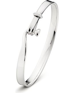 Torun Sterling Silver 18 Kt White Gold And Diamond Bangle