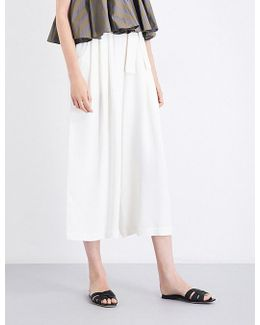 Ladies White Patch Pocket Karate Wide-leg Cropped Crepe Trousers
