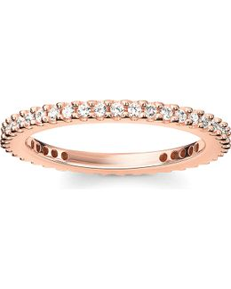 Glam & Soul 18ct Rose-gold Plated Sterling Silver And White Pavé Zirconia Eternity Ring