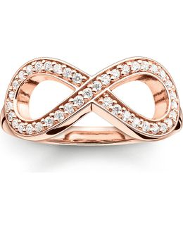 Glam & Soul Rose Gold-plated And Zirconia-pavé Infinity Ring