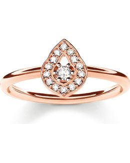 Fatima's Garden Rose Gold-plated And Zirconia-pavé Stacking Ring