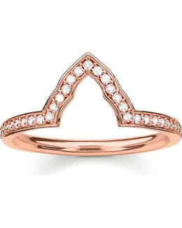 Fatima's Garden Rose Gold-plated And Zirconia-pavé Temple Stacking Ring