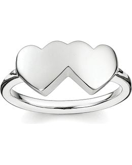 Classic Sterling Silver Merging Hearts Ring